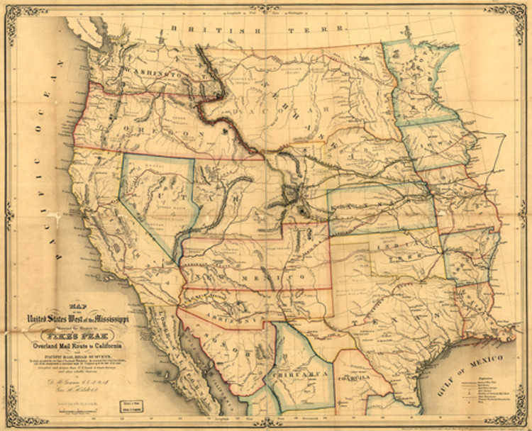 Historical Map of the United States - West of the Mississippi - 1859
