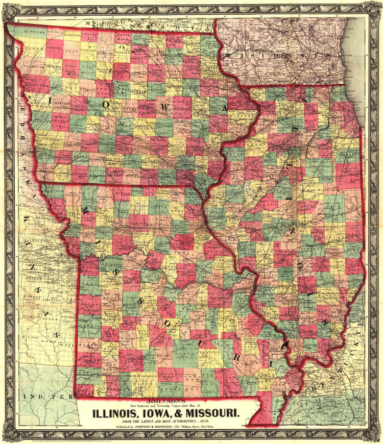 Historic Railroad Map of the Midwest - 1859