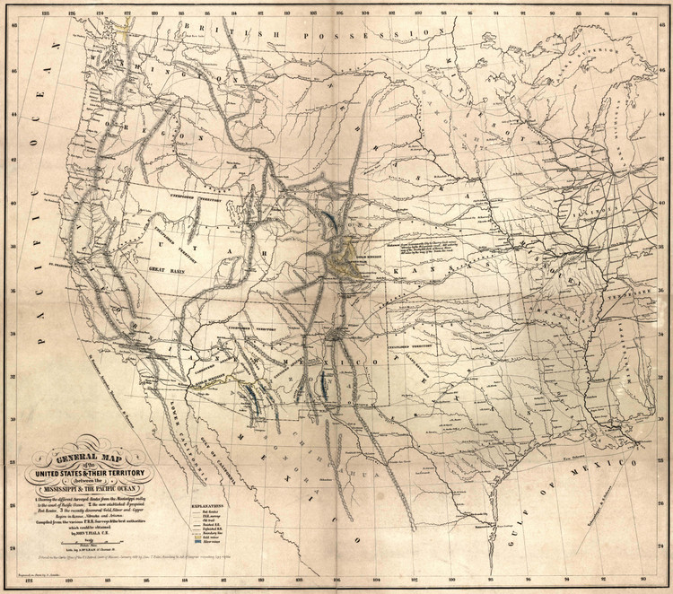Historic Railroad Map of the Southwestern United States - 1859