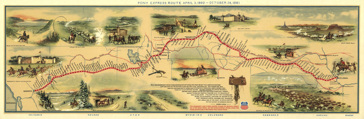 Historic Railroad Map of the Western United States - 1860