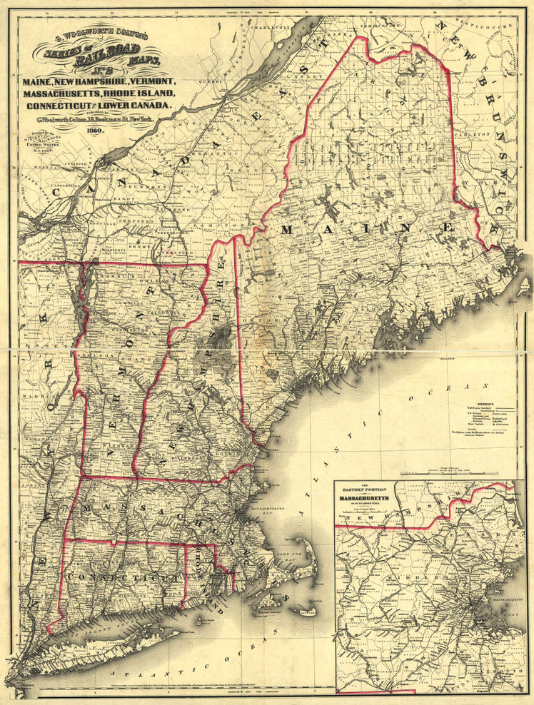 Historic Railroad Map of New England - 1860