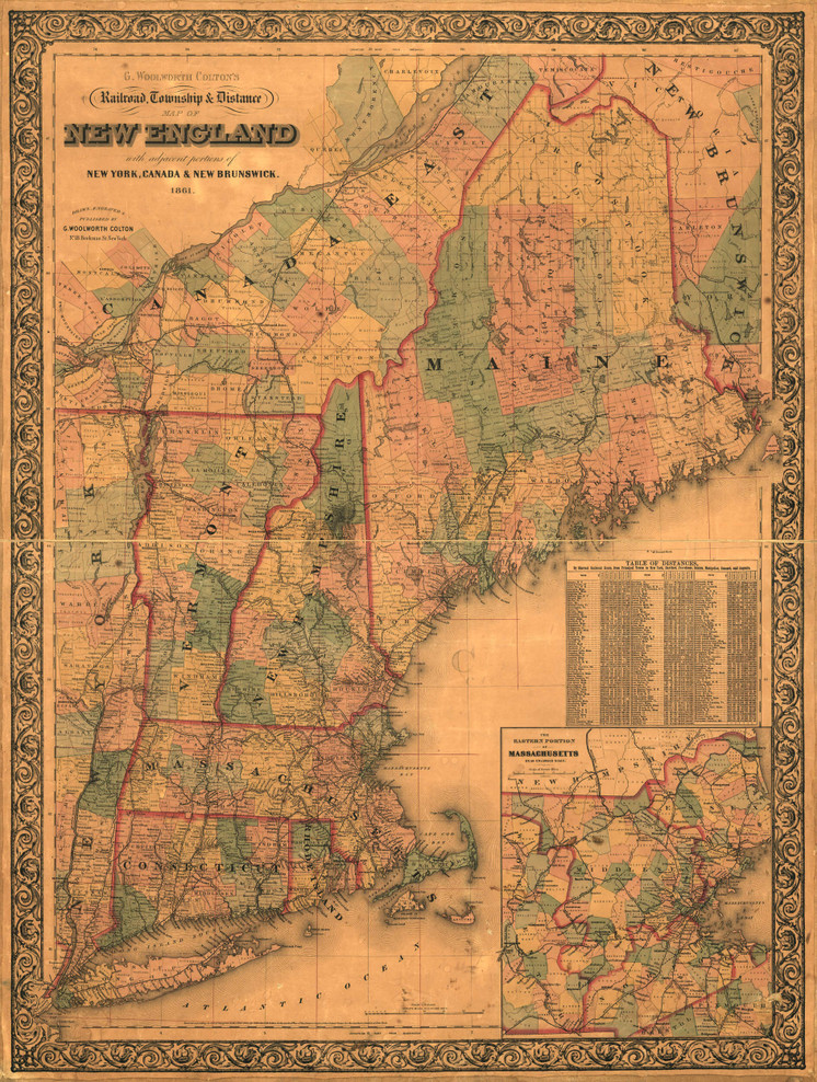 Historic Railroad Map of New England - 1861