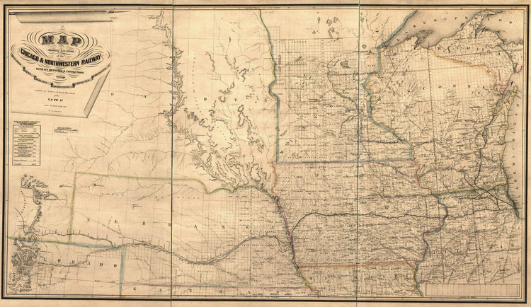 Historic Railroad Map of the Midwest - 1862