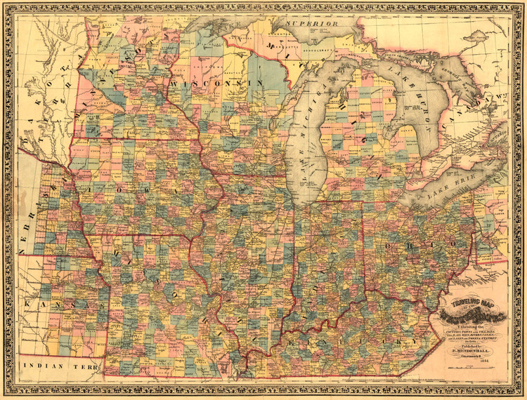 Historic Railroad Map of the Midwest - 1863