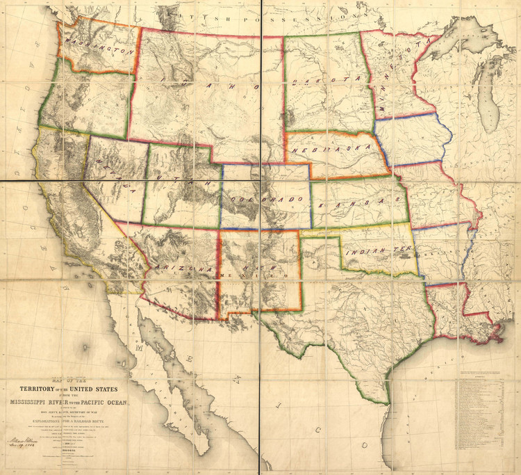 Historic Railroad Map of the Western United States - 1863