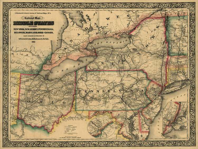 Historic Railroad Map of the Middle States - 1865