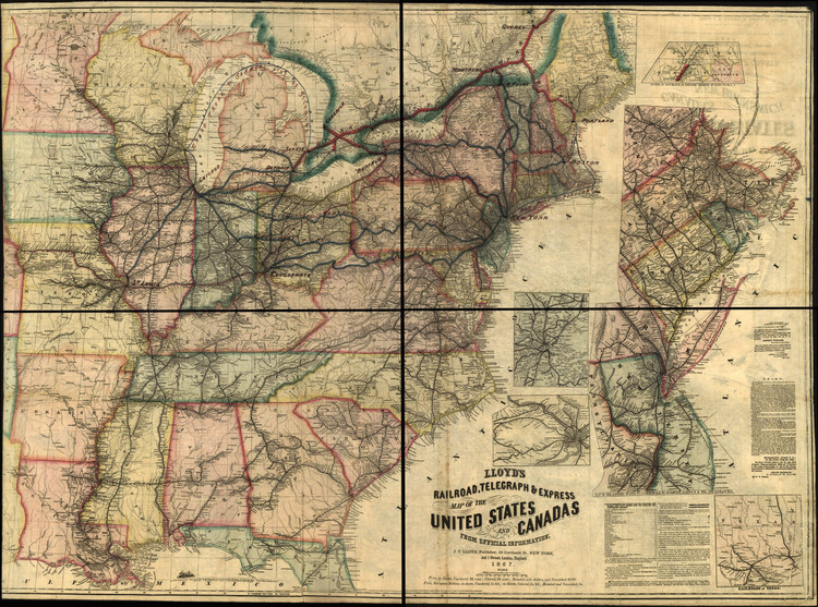 Historic Railroad Map of the United States & Canada - 1867