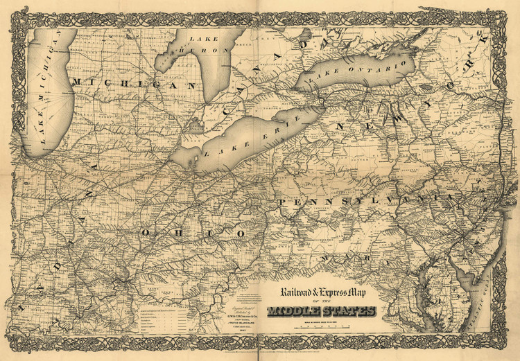 Historic Railroad Map of the Northeasern United States - 1867