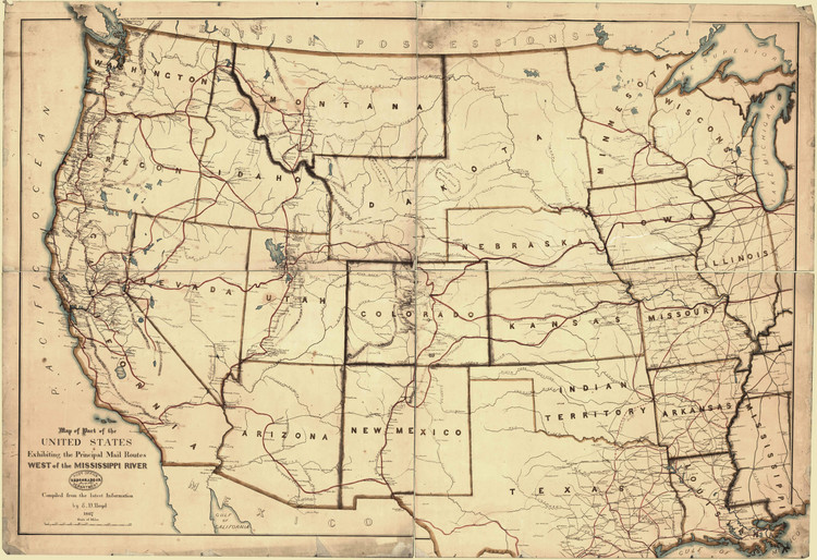 Historic Railroad Map of the Western United States - 1867