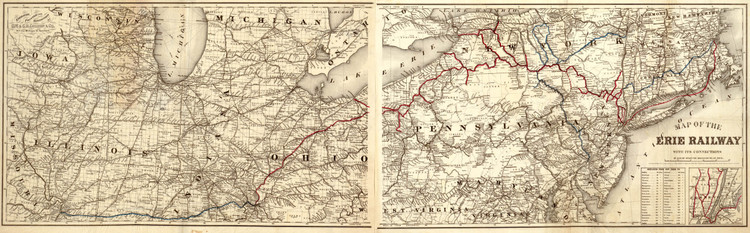 Historic Railroad Map of Erie Railway and its Connections - 1869