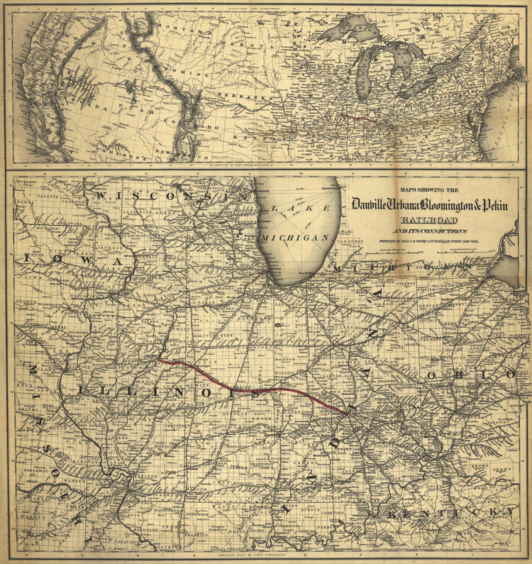 Historic Railroad Map of the Midwest - 1869