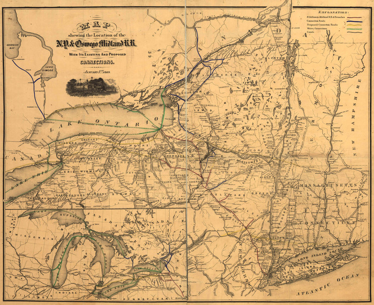 Historic Railroad Map of New England & New York - 1869