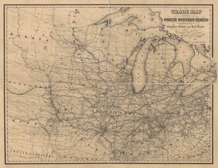Historic Railroad Map of the North Central United States - 1870