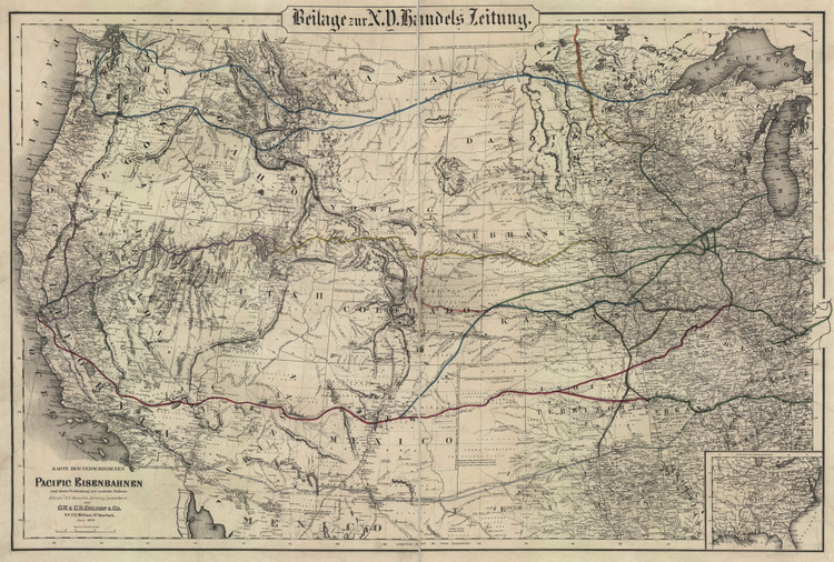 Historic Railroad Map of the Western United States - 1870