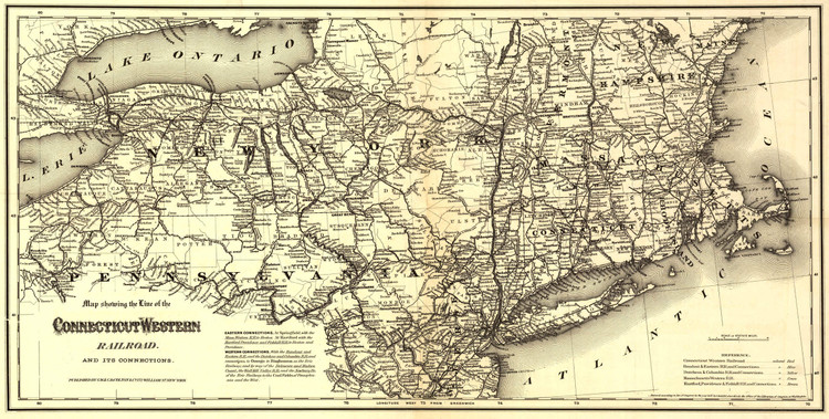 Historic Railroad Map of the Connecticut Western Railroad - 1871