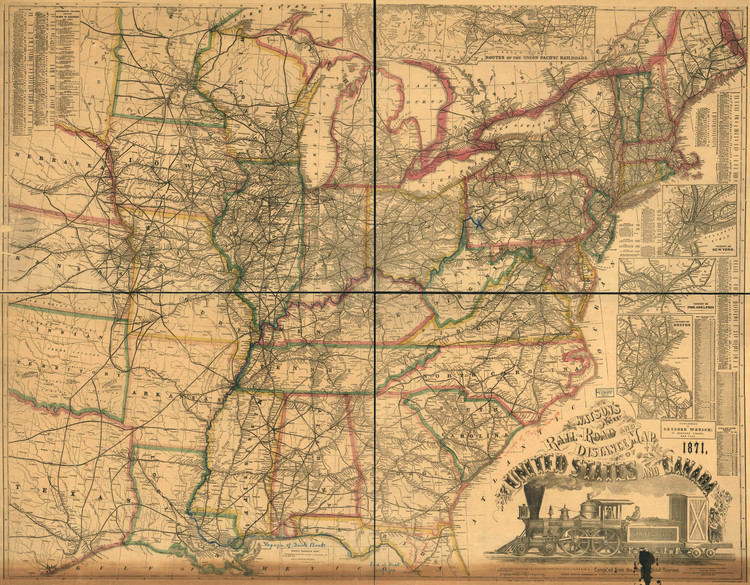 Historic Railroad Map of the United States & Canada - 1871