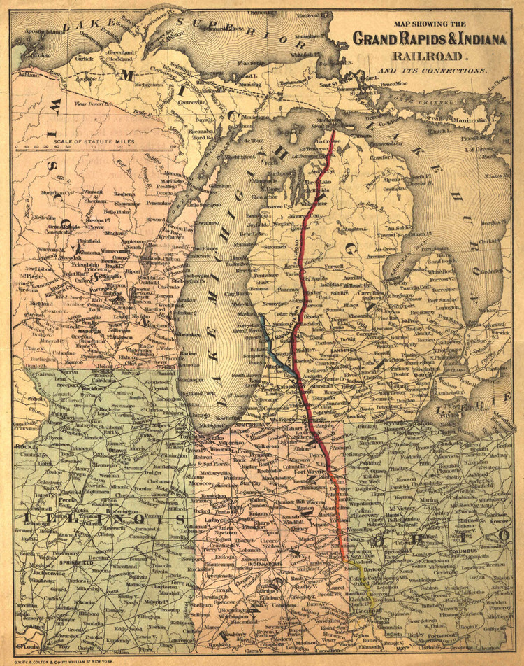 Historic Railroad Map of the Midwest - 1871