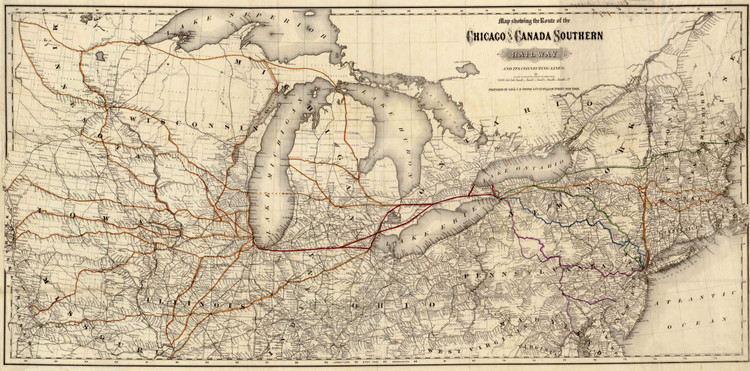Historic Railroad Map of the Chicago & Canada Southern Railroad - 1872