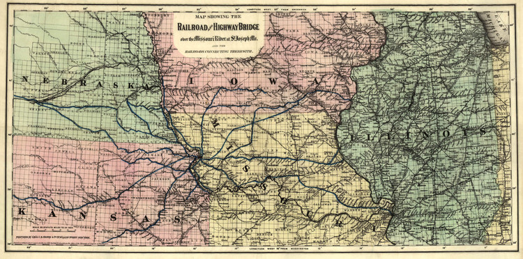 Historic Railroad Map of the Midwest - 1872