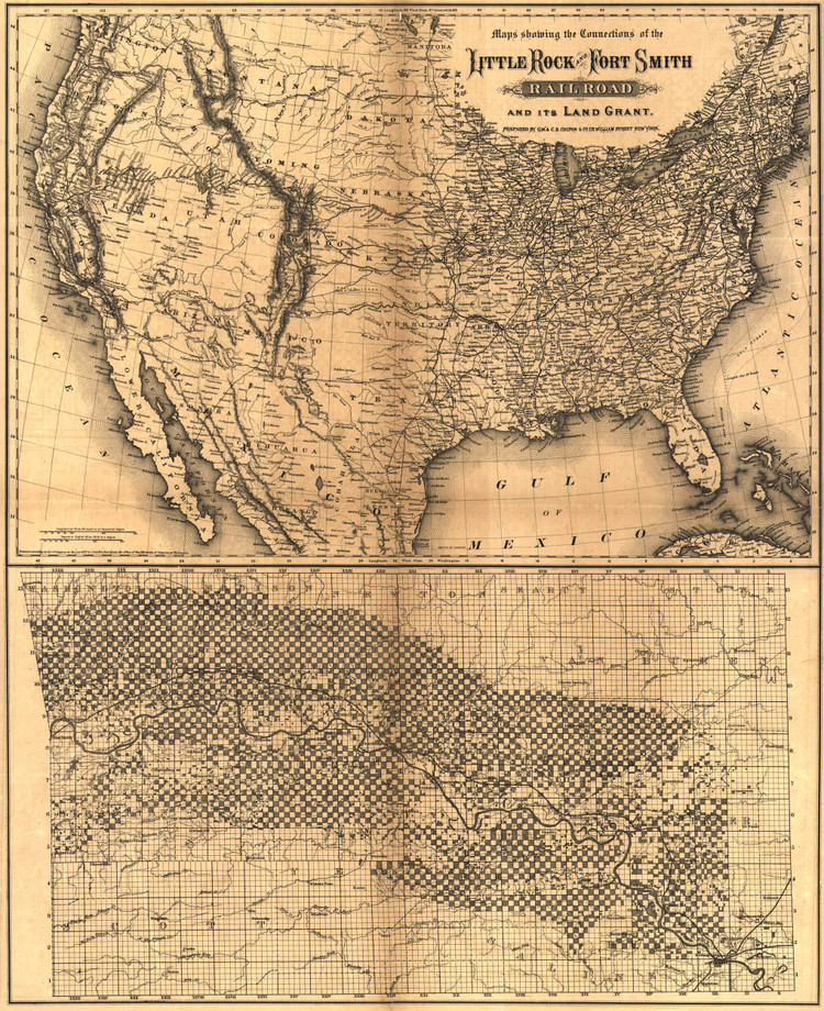 Historic Railroad Map of the United States - 1873