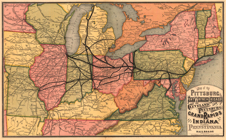Historic Railroad Map of the Northeastern United States - 1874
