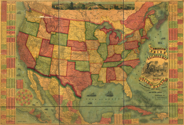 Historic Railroad Map of the United States - 1874