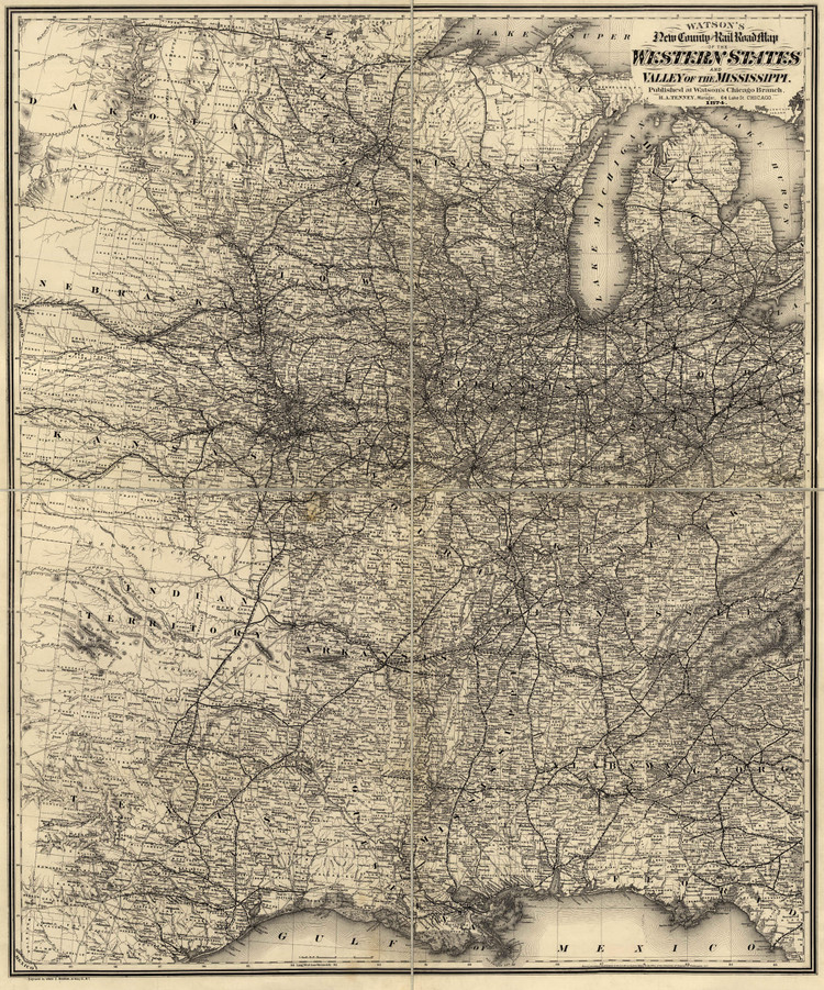 Historic Railroad Map of the Central United States - 1874