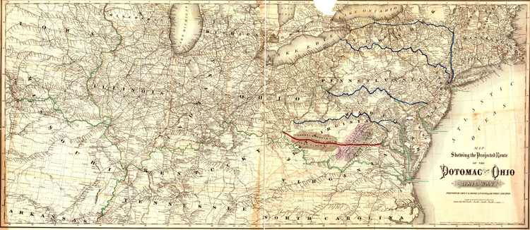 Historic Railroad Map of the Middle Atlantic States - 1874