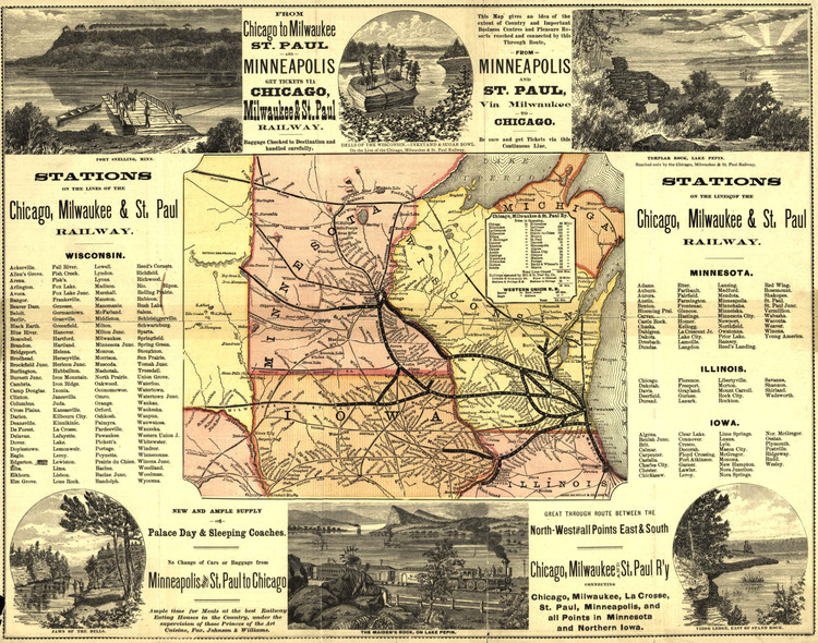 Historic Railroad Map of the Midwest - 1874