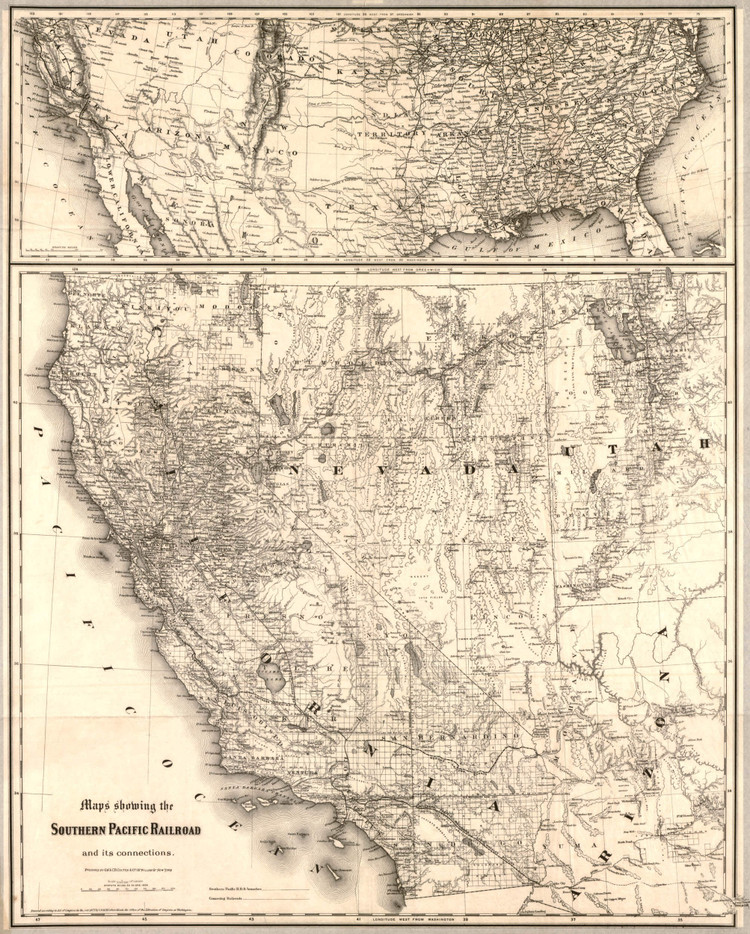 Historic Railroad Map of the Southwest United States - 1875