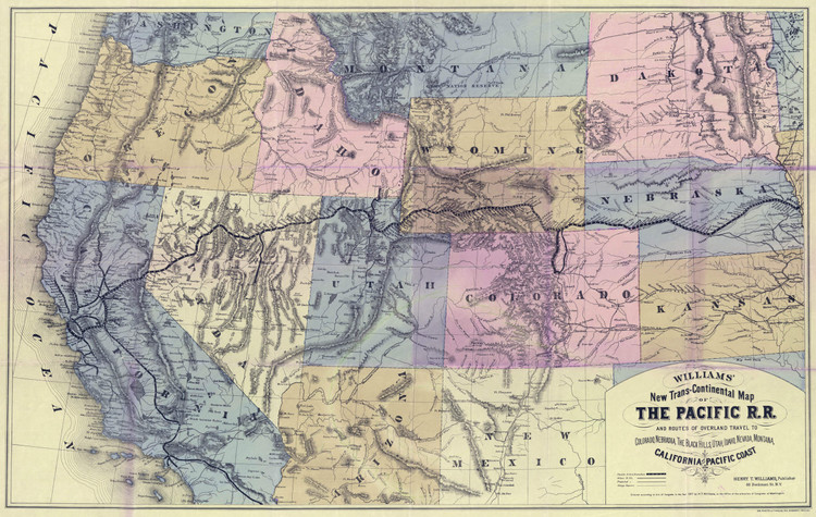 Historic Railroad Map of the Western United States - 1877