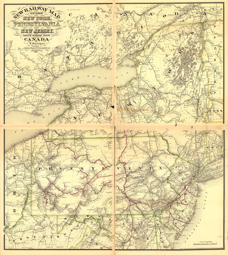 Historic Railroad Map of New York, Pennsylvania and New Jersey - 1881