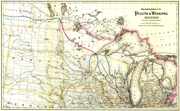 Historic Railroad Map of Midwestern States - 1881