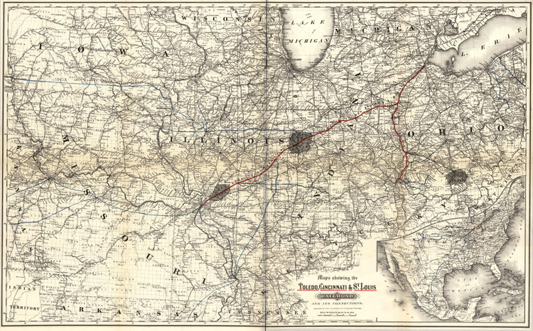 Historic Railroad Map of the Midwest - 1881