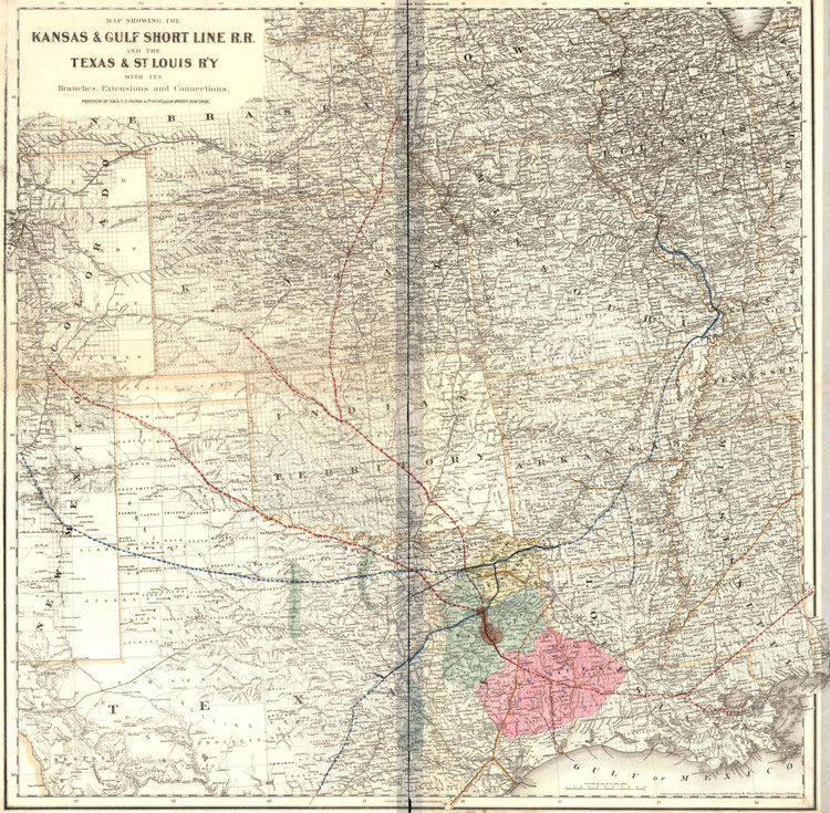 Historic Railroad Map of the Midwest & Southern United States - 1881
