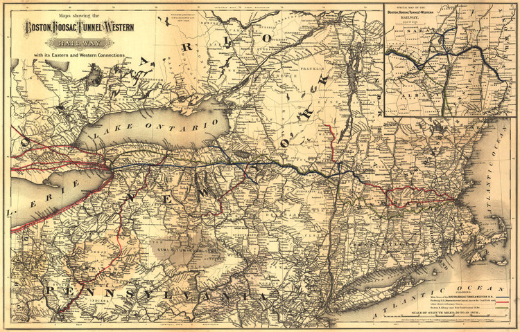 Historic Railroad Map of New England - 1881