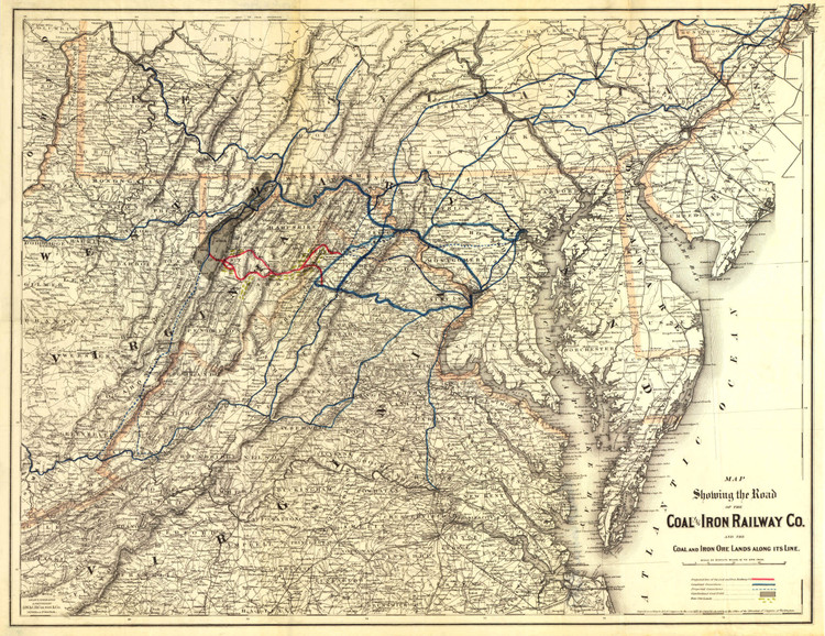 Historic Railroad Map of the Middle Atlantic States - 1882