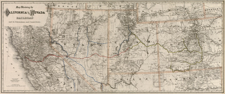 Historic Railroad Map of the Southwest United States - 1882