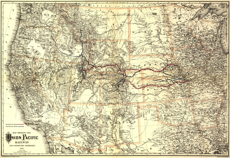 Historic Railroad Map of the Western United States - 1882