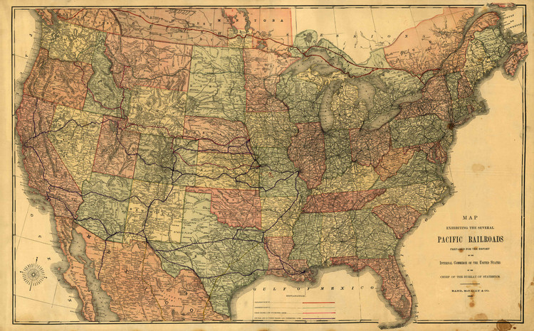 Historic Map - United States - Pacific Railroad Map - 1883