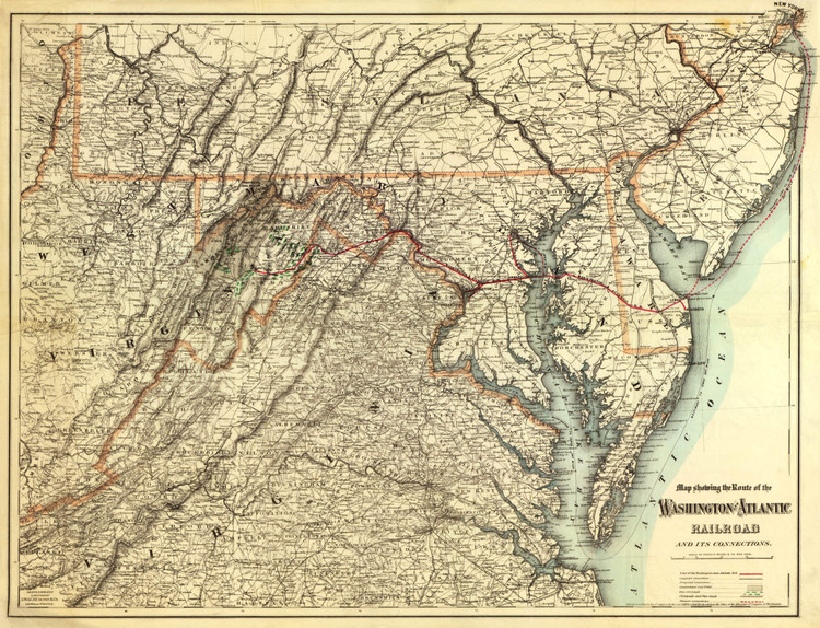 Historic Railroad Map of Pennsylvania, Virginia, Maryland and Delaware - 1883