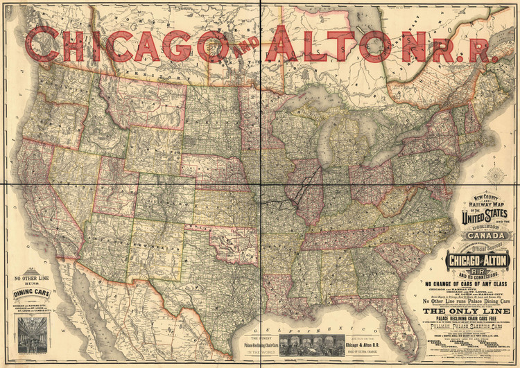 Historic Railroad Map of the United States - 1883