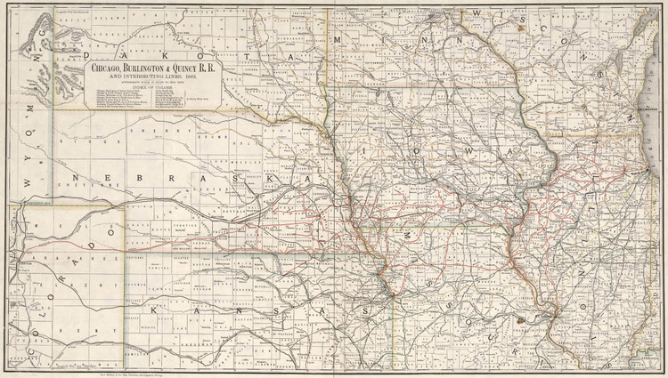 Historic Railroad Map of the Midwest - 1883
