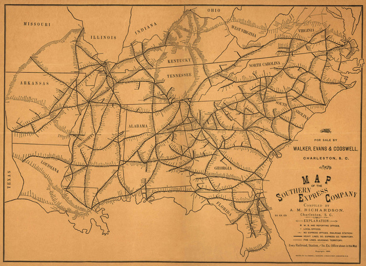 Historic Railroad Map of the Southeast United States - 1884