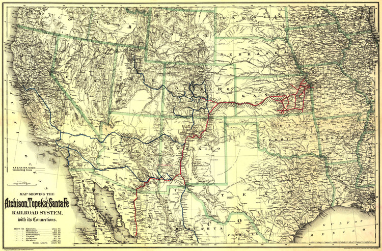 Historic Railroad Map of the Southwestern United States - 1883