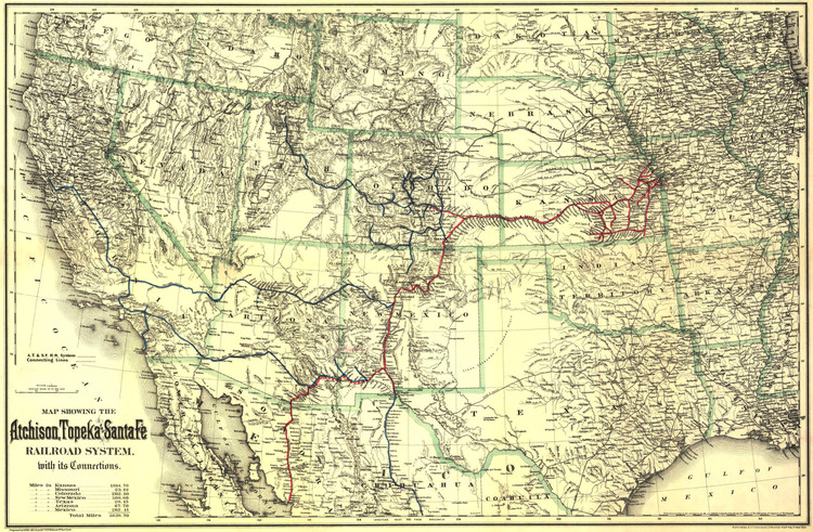 Historic Railroad Map of the Western United States - 1883