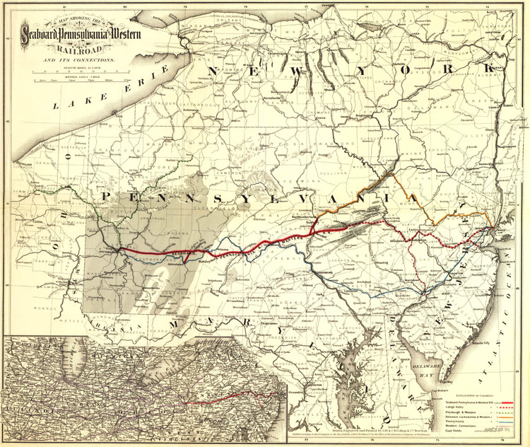 Historic Railroad Map of the Middle Atlantic States - 1884