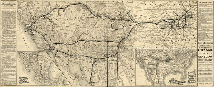Historic Railroad Map of the Southwestern United States - 1884