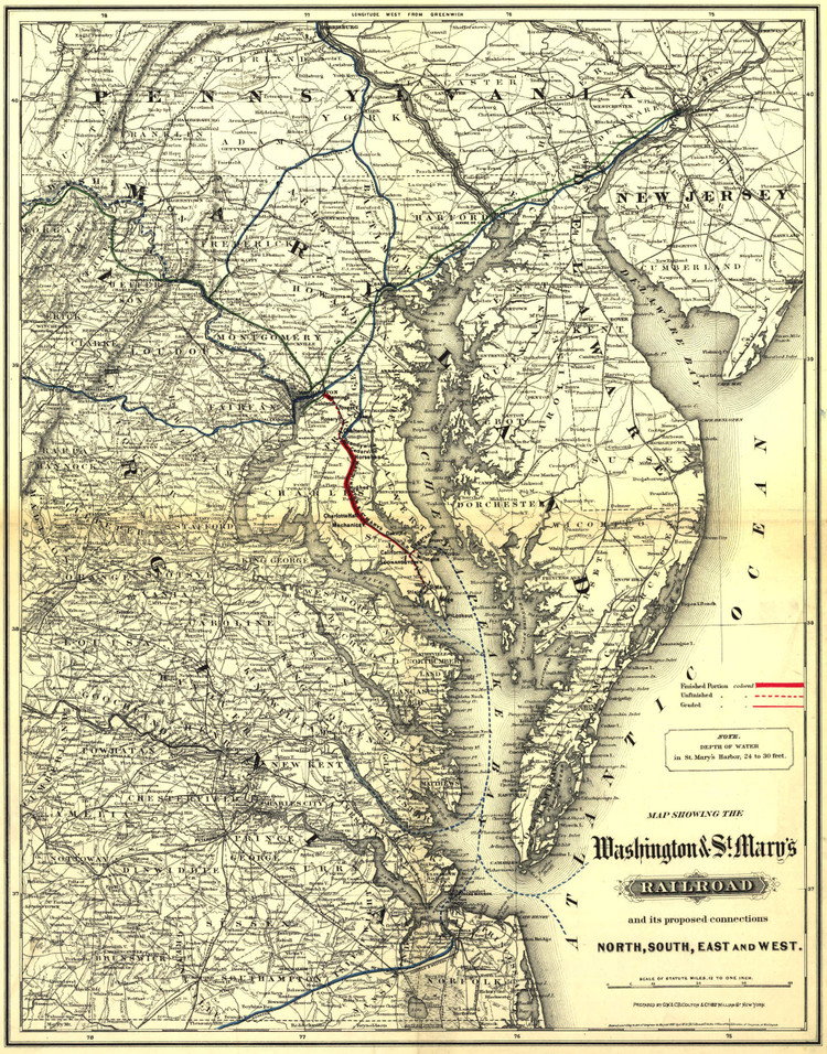 Historic Railroad Map of the Middle Atlantic States - 1887