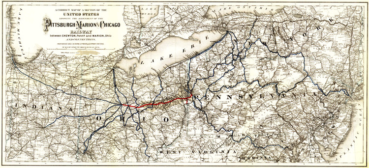 Historic Railroad Map of the Northeastern United States - 1887